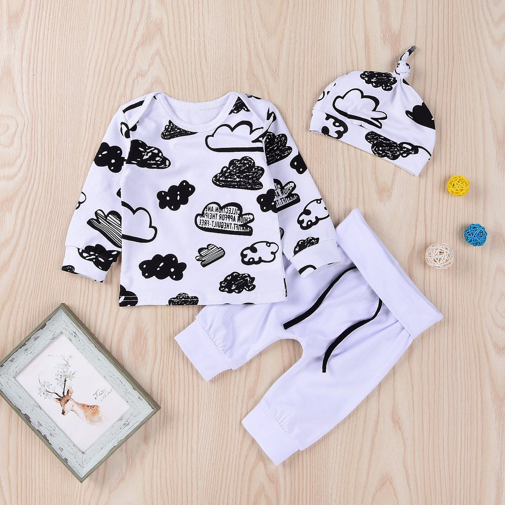 3-piece Cloud Printed Sweatshirt & Pants & Hat for Baby Boy Wholesale children's clothing - PrettyKid