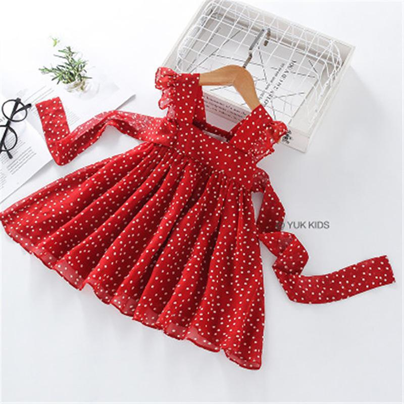 Ruffle Bow Decor Polka Dot Pleated Dress for Toddler Girl Wholesale children's clothing
