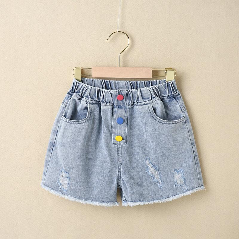 Kid Girl Color Button Casual Denim Shorts