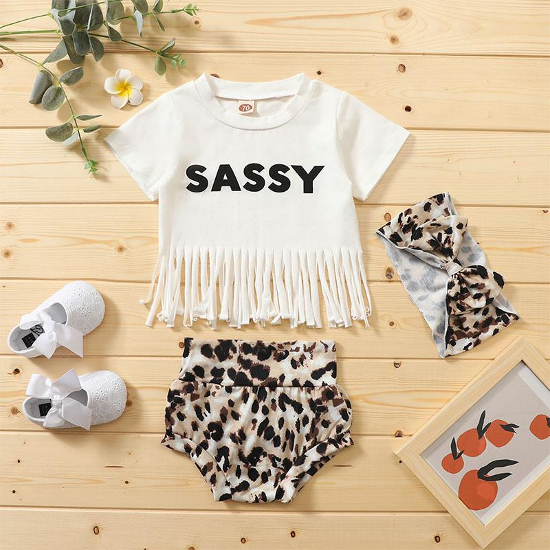 3-piece Letter Pattern Tassl Tops & Shorts & Headband for Baby Girl - PrettyKid