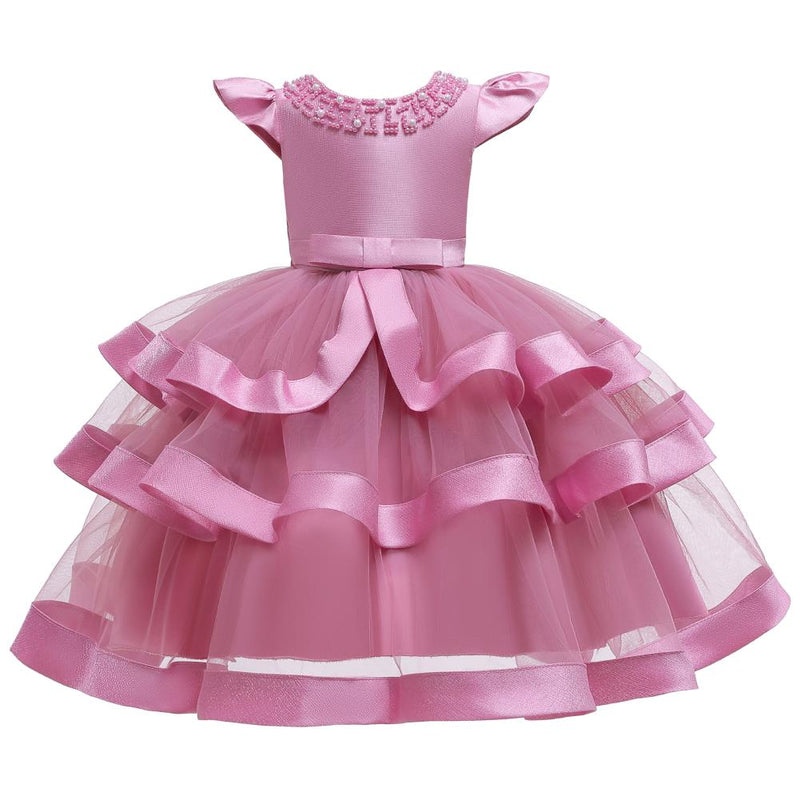 Girl Princess Flying Sleeves Performance Dress - PrettyKid