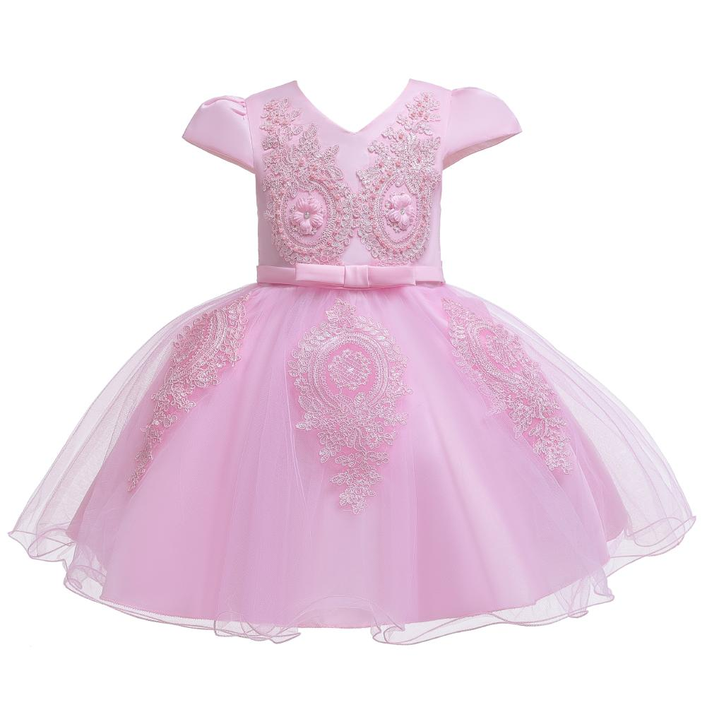 Girl Pretty Floral Embroidery Solid Tulle Party Dress