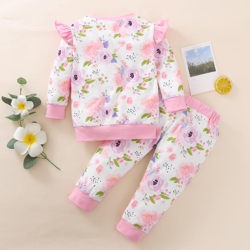 2-piece Floral Long Sleeve T-shirt & Pants for Baby Girl Wholesale children's clothing