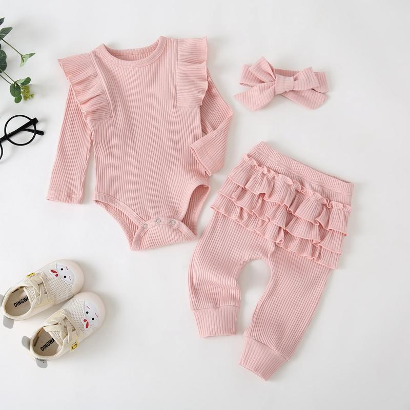 3-piece Ruffle Romper & Headband & Pants for Baby Girl Wholesale Children's Clothing