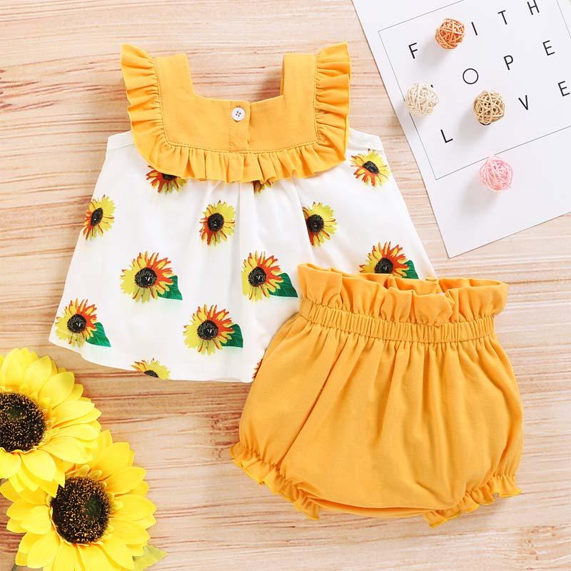 2-Pieces Sunflower Print suit For Toddler Girls - PrettyKid