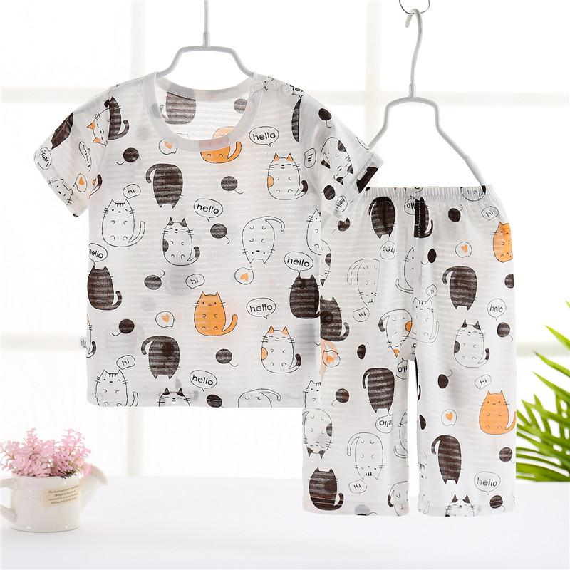 Toddler Boy Tree Pattern Summer Pajamas Sets Top+Pants