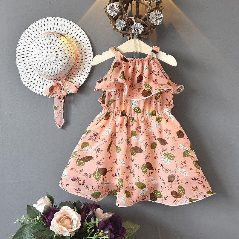 2-piece Floral Printed Dress & Sun Hat for Toddler Girl Wholesale children's clothing - PrettyKid