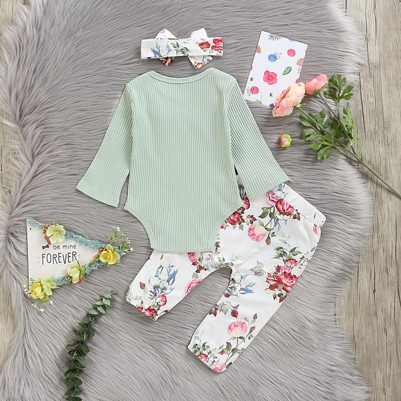 3-piece Solid Bodysuit & Floral Printed Pants & Headband for Baby Girl Wholesale children's clothing