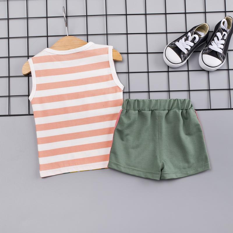 2-piece Cartoon Design Striped Vest & Shorts for Toddler Boy Wholesale children's clothing