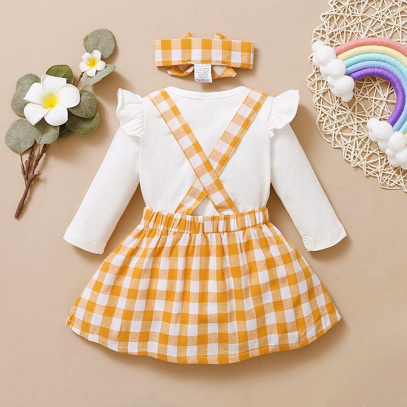3-piece Romper & Plaid Headband & Plaid Skirt for Baby Girl - PrettyKid