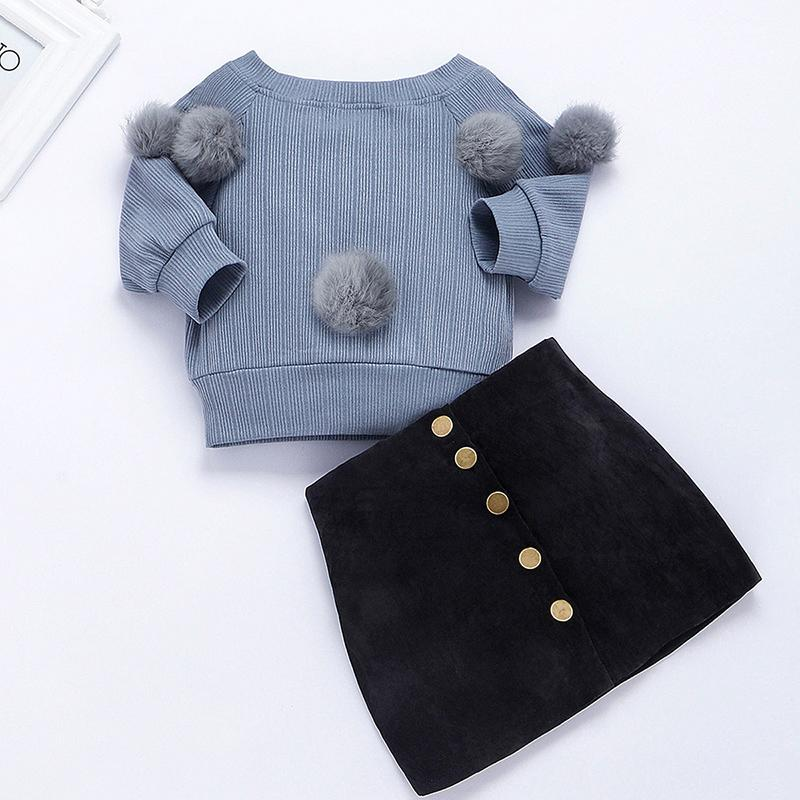 2-piece Plush Ball Sweater & Skirt for Toddler Girl Wholesale children's clothing