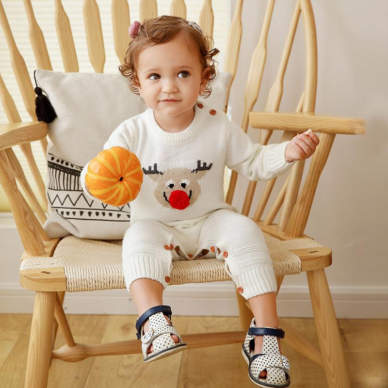 Christmas Elk Sweater Knitted Bodysuit for Baby Wholesale children's clothing