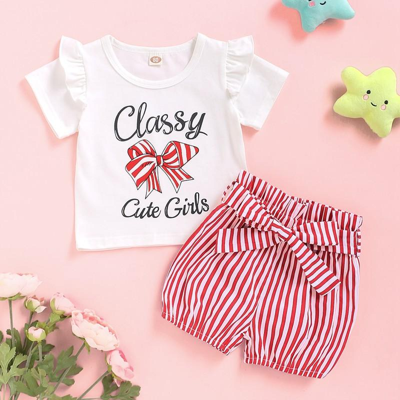 2-piece Letter Pattern T-shirt & Striped Shorts for Baby Girl Wholesale children's clothing - PrettyKid