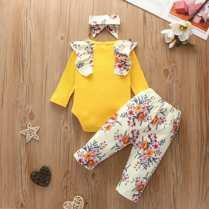 3-piece Floral Printed Bodysuit & Pants & Headband for Baby Girl Wholesale children's clothing - PrettyKid