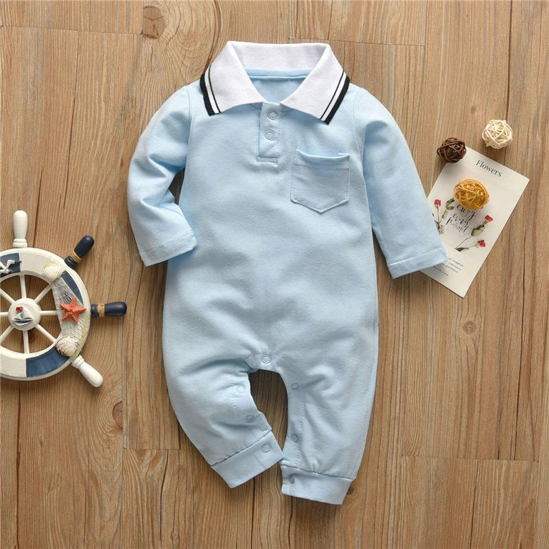 Solid Lapel Collar Jumpsuit for Baby Boy Wholesale children's clothing