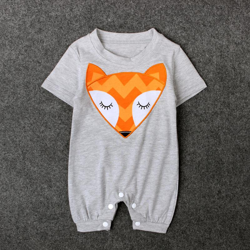 Cartoon Fox Print Baby Jumpsuits Wholesale children's clothing - PrettyKid