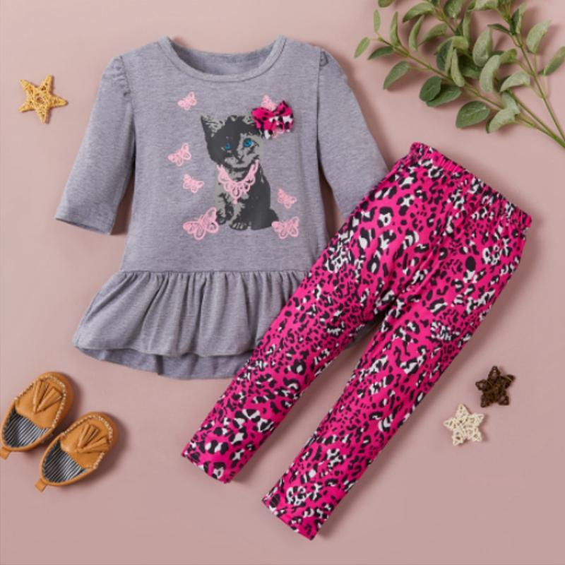 2-piece Sweatshirt & Leopard Pants for Toddler Girl Wholesale children's clothing