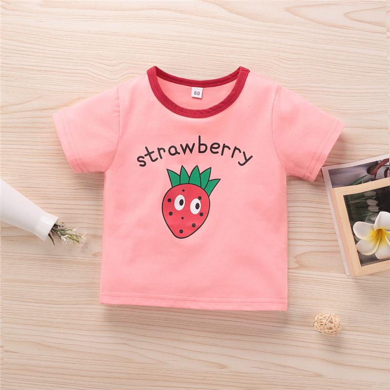 How To Start A Baby Boutique Online Strawberry Pattern T-shirt for Todddler Girl