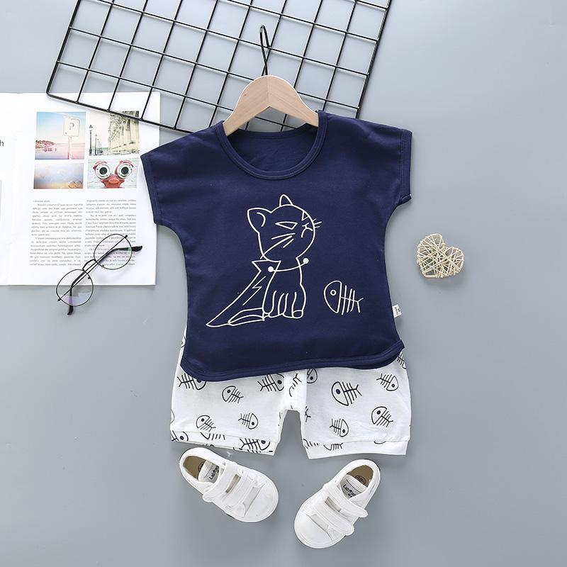 2pcs Cute Cartoon Print T-shirt Pantsuits - PrettyKid