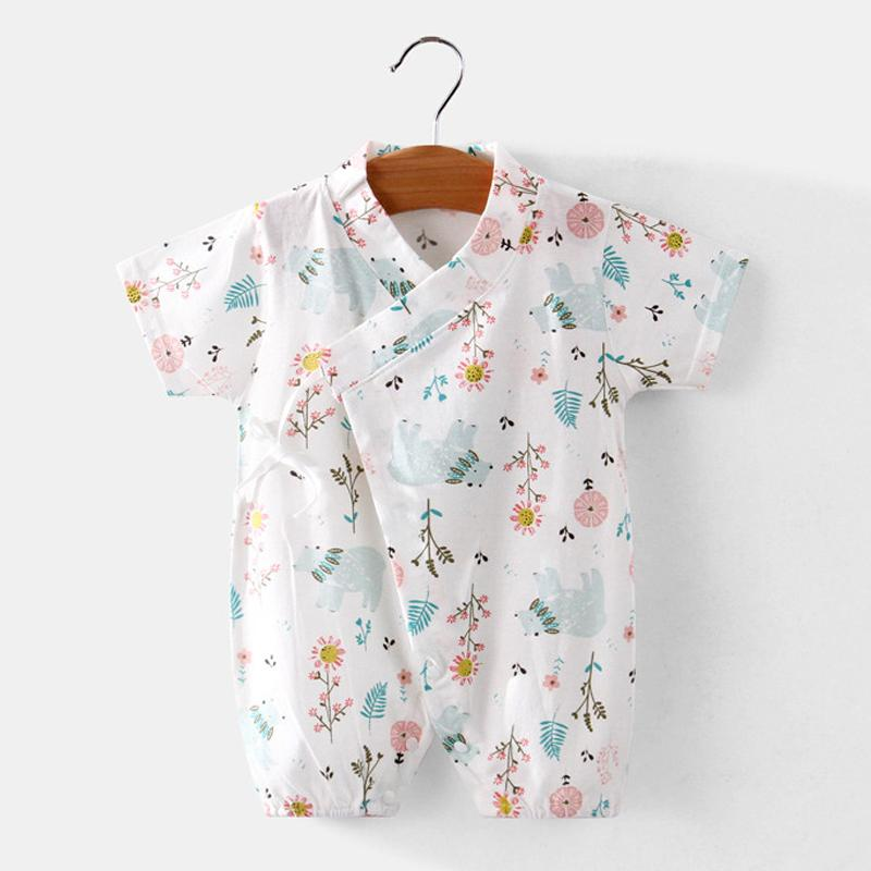 Baby Girl Summer Fresh Flower Pattern Bodysuit Wholesale Children's Clothing - PrettyKid