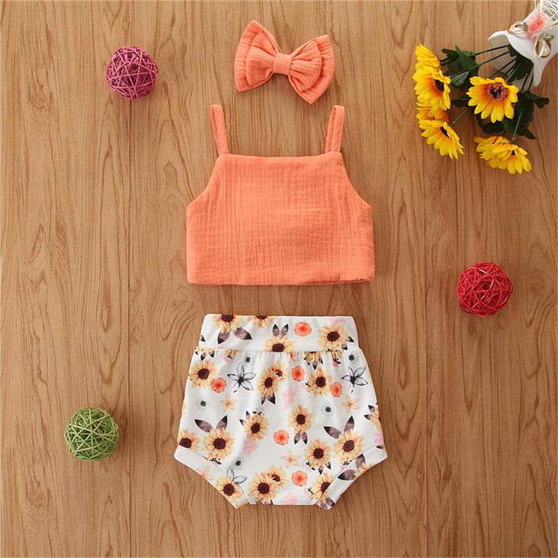 Baby Girls Bow Decor Solid Solid Sling Top & Floral Shorts & Headband Baby clothes