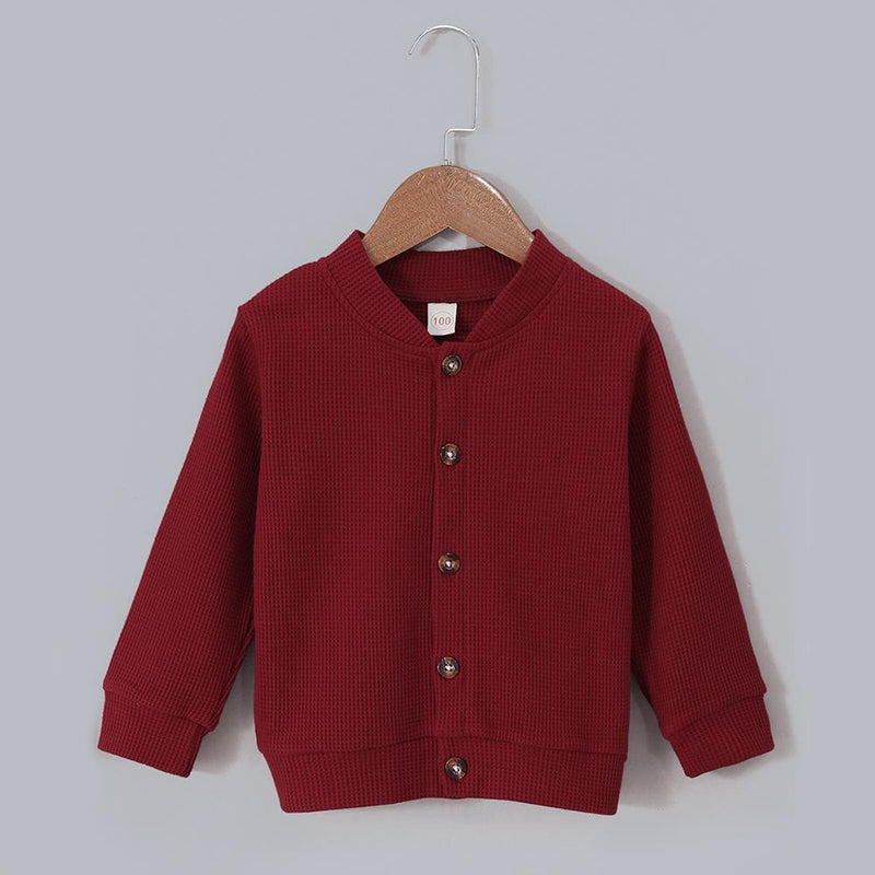 Unisex Cardigan Solid Color Long Sleeve Button Jacket Trendy Kids Wholesale Clothing