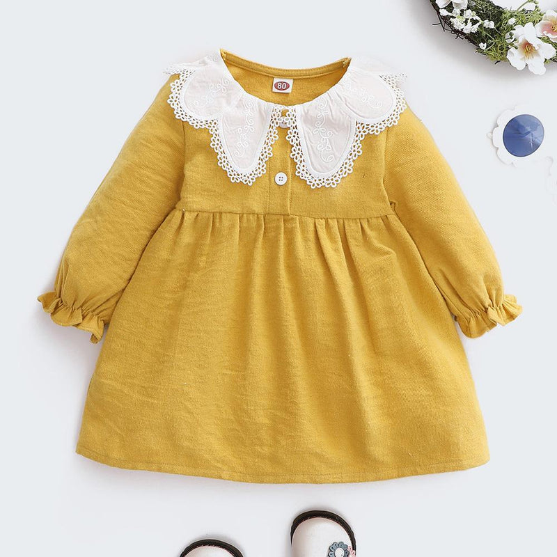 Baby Girls Lace Collar Long Sleeve Sweet Dress Wholesale Clothing Baby