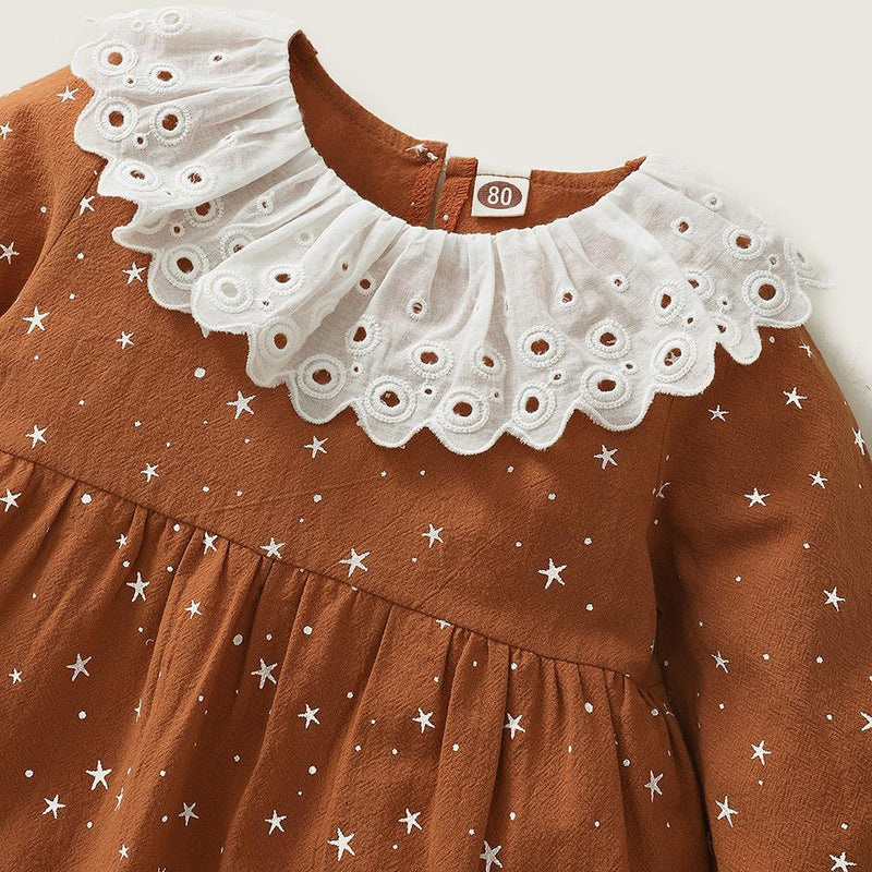 Baby Girls Star Printed Long Sleeve Princess Dress Buy Wholesale Baby Clothes