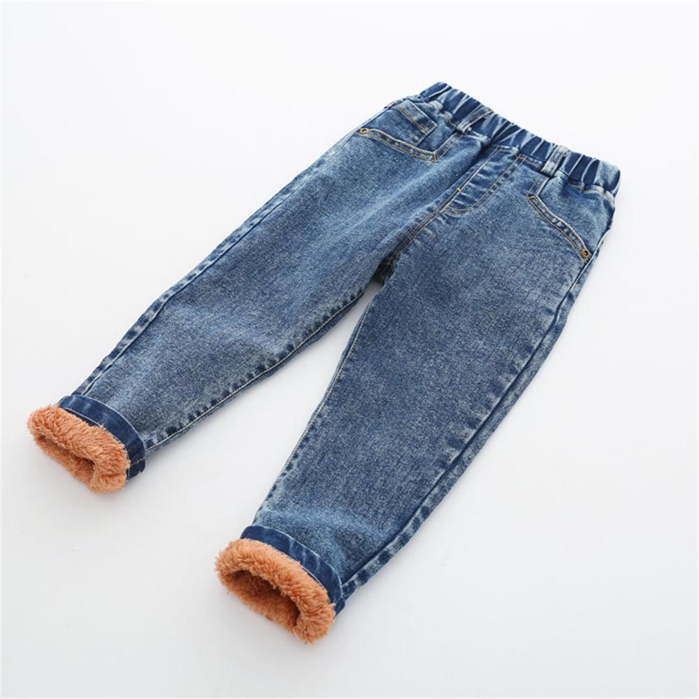 Boys Solid Color Pocket Elastic Waist Warm Jeans Wholesale Kids Jeans