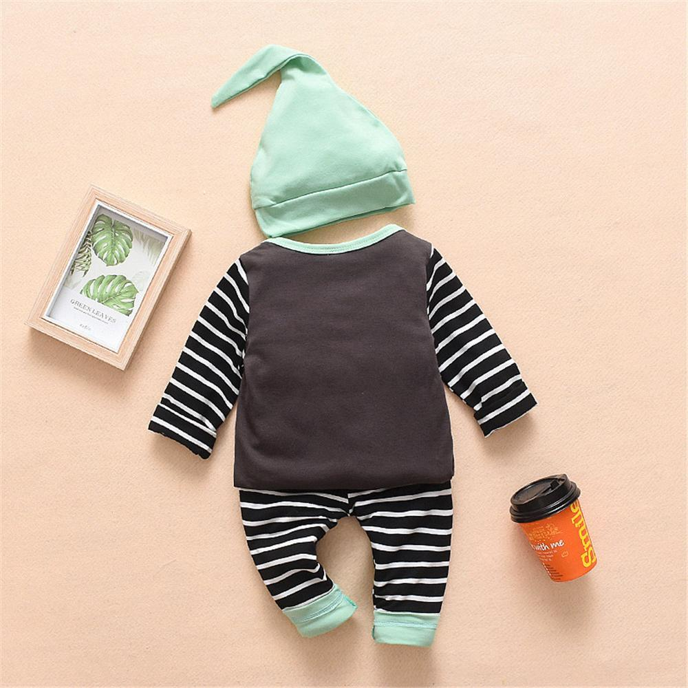Baby Boys Striped Long Sleeve Top & Pants & Hat Baby Clothing Wholesale Distributors