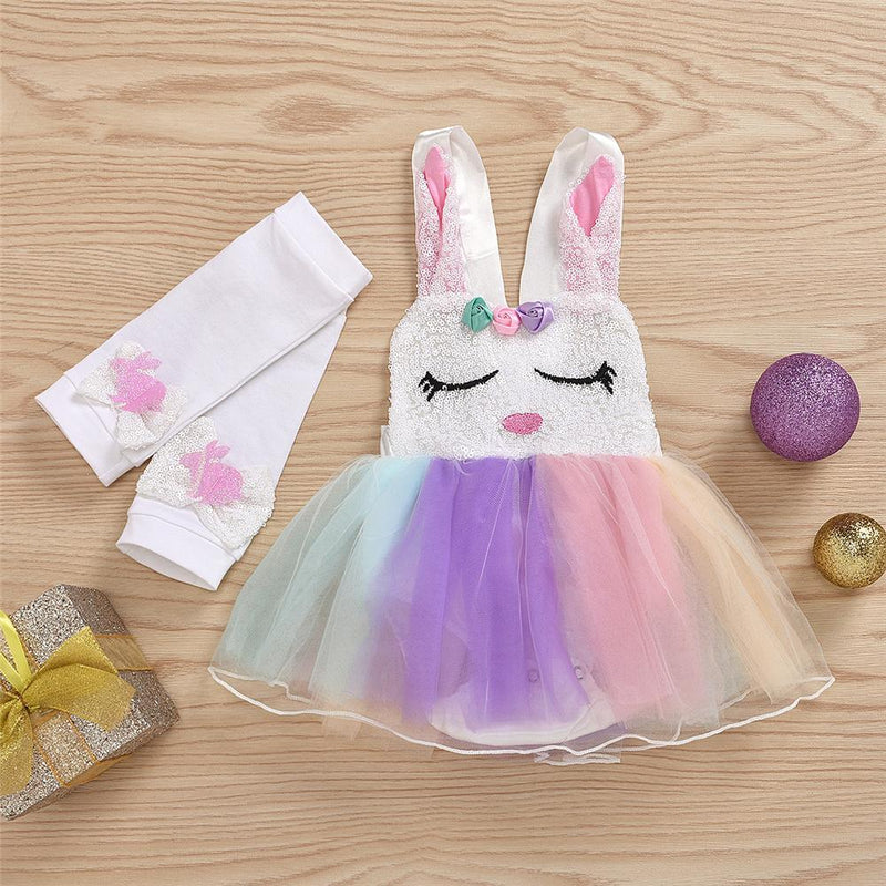 Baby Girls Pattern Rabbit Sleeveless Easter Mesh Dress & Foot Cover Baby Clothes Suppliers