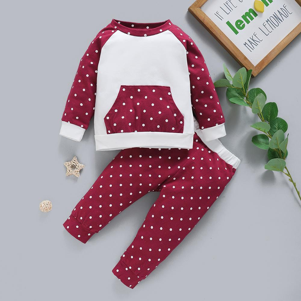 Baby Unisex Polka Dot Long Sleeve Top & Pants Baby Clothes Wholesale Supplier - PrettyKid