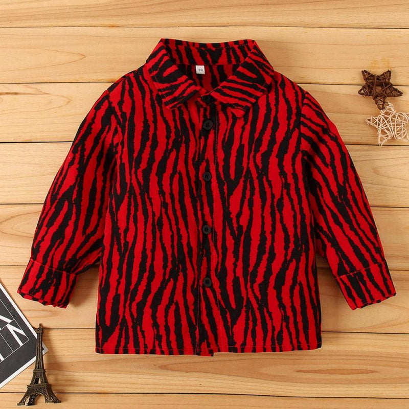 Kid Boys Tiger Pattern Lapel Shirt Little Boy T Shirts