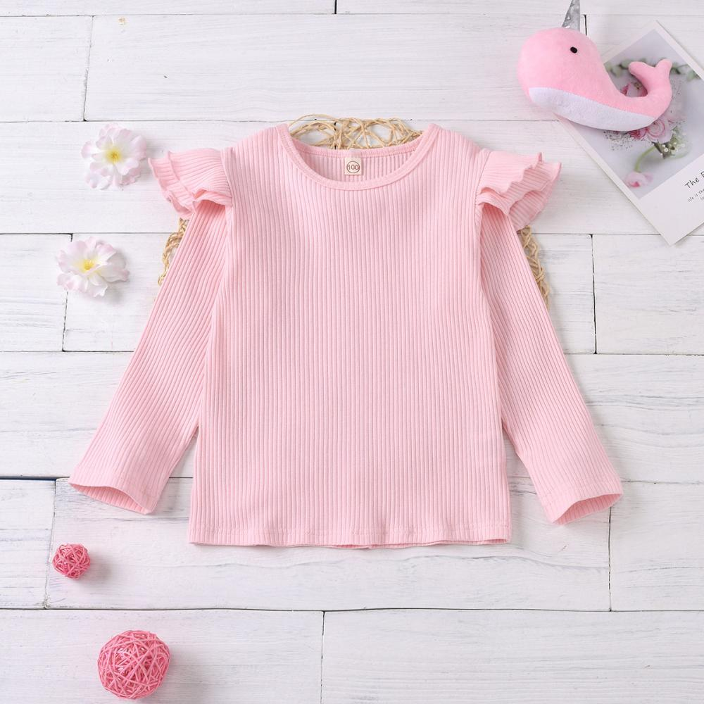 Girls Solid Color Long Sleeve Ruffle Top Girl T Shirts Wholesale - PrettyKid