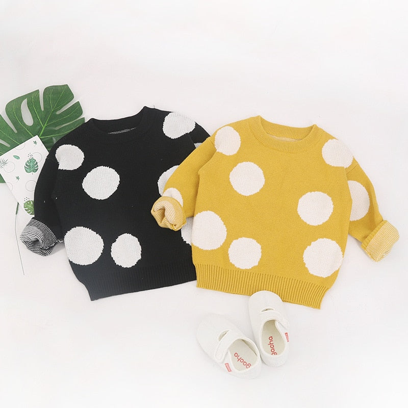 fashion Children Baby Sweaters Dot Boys Sweaters Winter Girls Sweaters Knit Kids Wholesale - PrettyKid