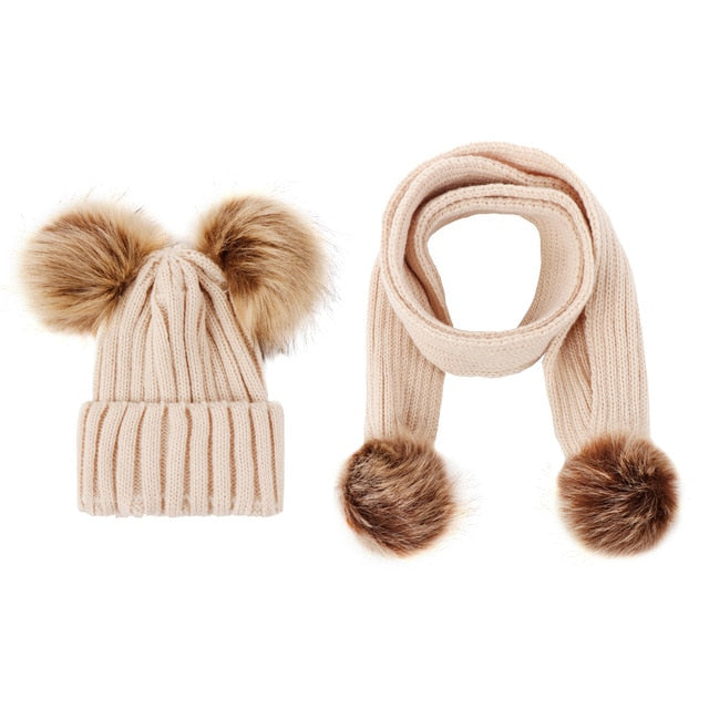 Stylish Newborn Baby Children Baby Solid Color Scarves Winter Warm Baby Girl Hat For Baby Boy Suit Infant Set Wholesale