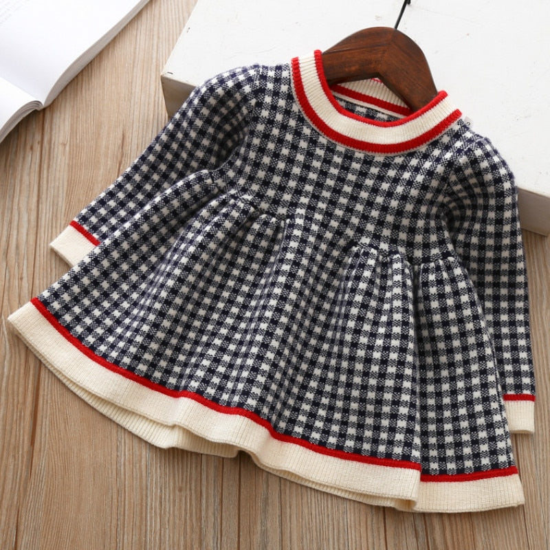 2021 wholesale Baby Girls Winter Plaid Sweater Dresses Clothes Children Kids Autumn Spring Clothing - PrettyKid
