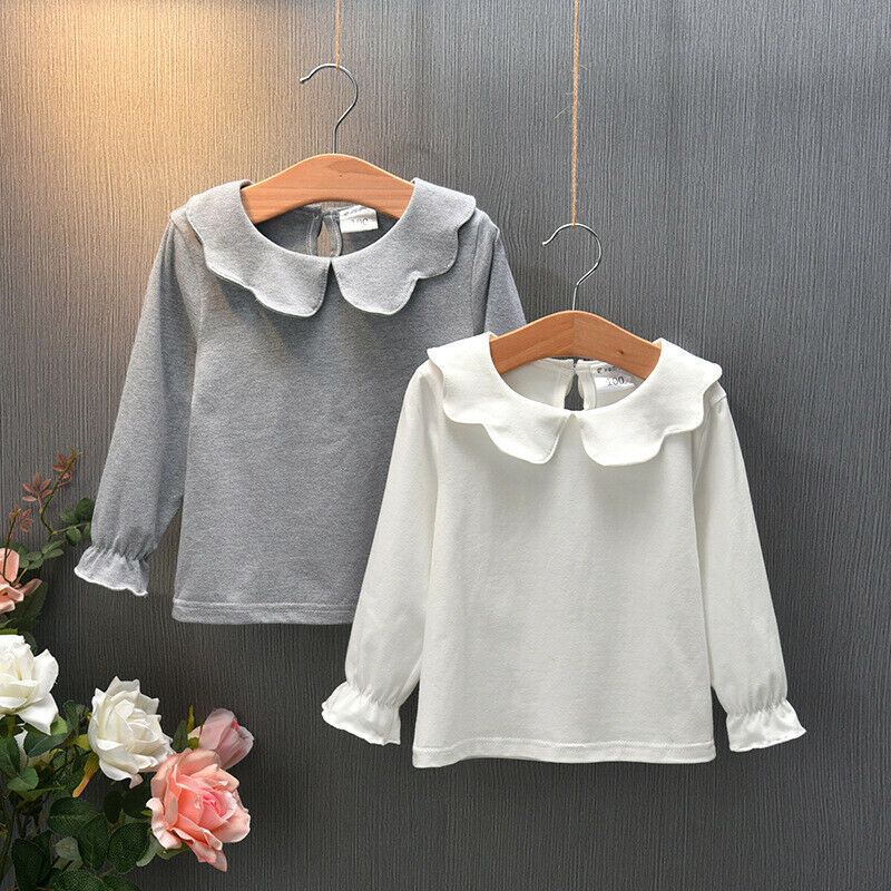 Fashion Baby Kid Girl Pullover Long Sleeve Sweaters Casual Solid Cotton Top Ruffle Sweaters Wholesale - PrettyKid