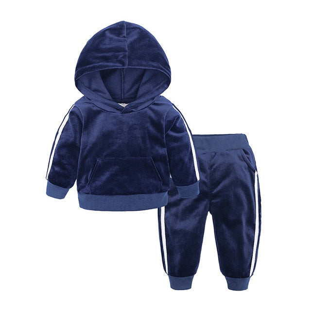 Baby Boys Girls Velvet Hooded Clothing Set for Tracksuits Children Clothes Set Supplier