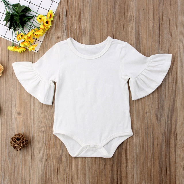 0-24M Newborn Baby Girl Organic Flare Sleeve Solid Black White Grey Casual Romper Jumpsuit Outfits Baby Clothes kids Suit Wholesale - PrettyKid