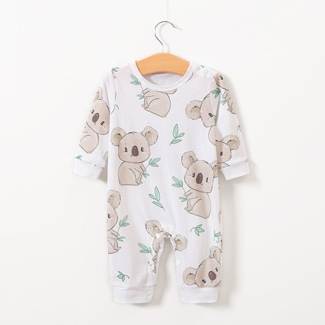 Newborn Organic Cotton Romper Infant Toddler Cute printing Summer Long Sleeve Kids Jumpsuit Baby Boy Girl Clothes Wholesale