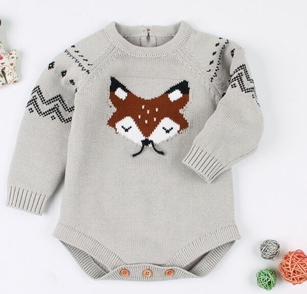 Baby Boy Girl Long Sleeve Solid Color Knitted Warm Romper Jumpsuit Playsuit Supplier Wholesale