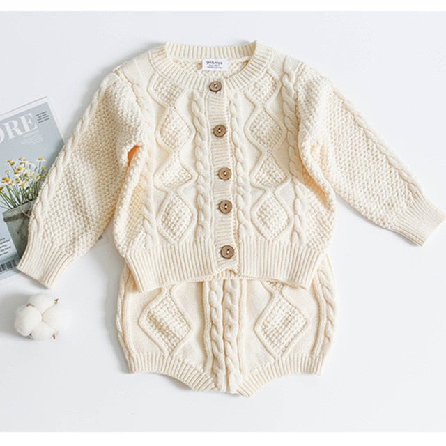2021 Cotton Boys Girls Baby Sweater Shorts Suit spring Winter Children Clothing wholesale in bulk