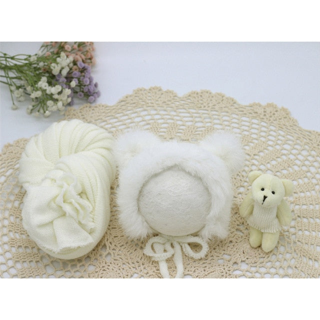 Newborn Infant Knitted Baby Boys Girls Faux Fur Hat Strong Stretch Blanket Supplier