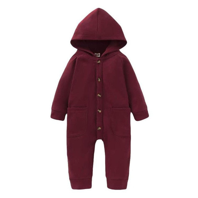 2021Baby Spring Winter Clothing Newborn Infant Baby Boy Girls Kid Solid Long Sleeve Hooded Button Pockets Romper Wholesale
