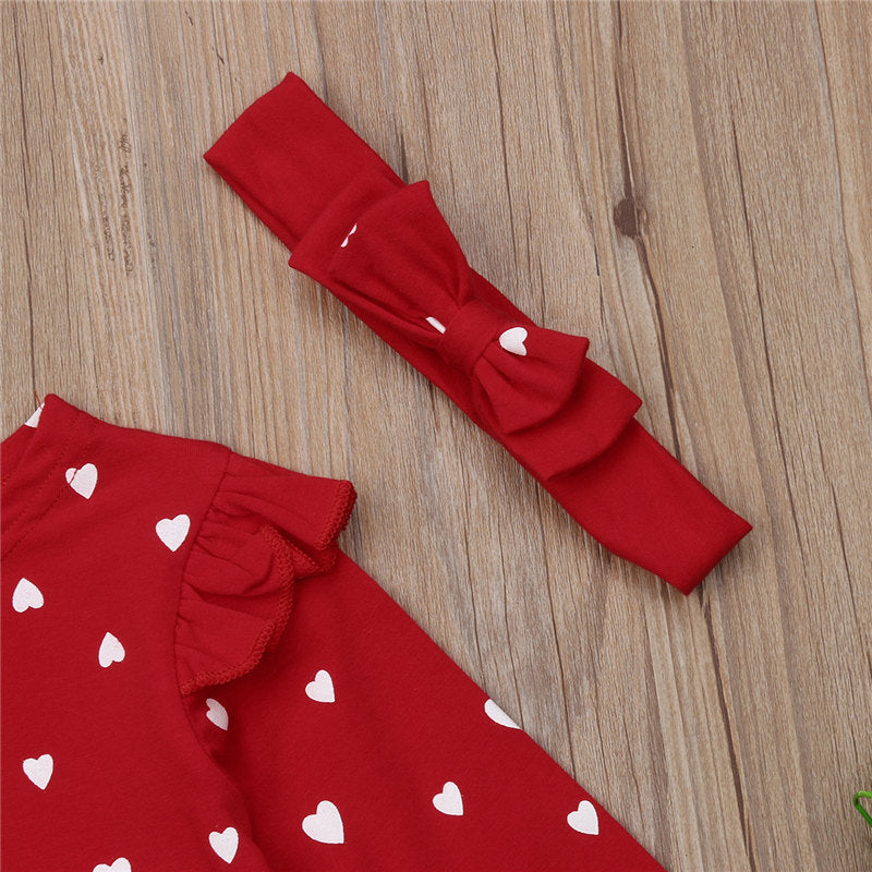 2021 Fashion Toddler Baby Girls Clothes Long Sleeve Heart Print Tutu Dresses With Bowknot Headband Valentine's Day Costume 2 Piece Outfit Wholesale
