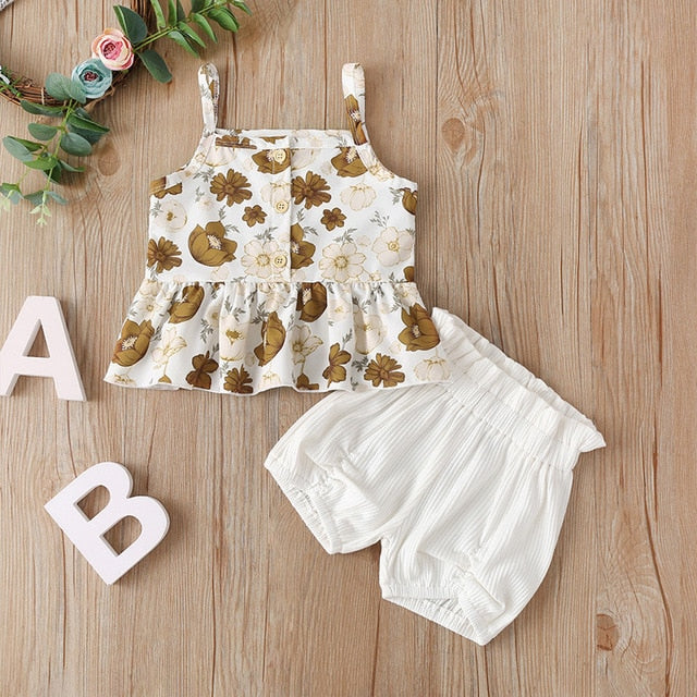 Cute Toddler Kid Girls Sleeveless Chiffon Tops Yellow Floral Tutu Skirts Clothes Set Outfit Suit Set Infant Clothing Wholesale
