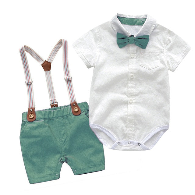 Stylish Baby Boy Clothes Suits Newborn Party Dress Soft Cotton Solid Rmper + Belt Pants Infant Toddler Set Online Wholesale