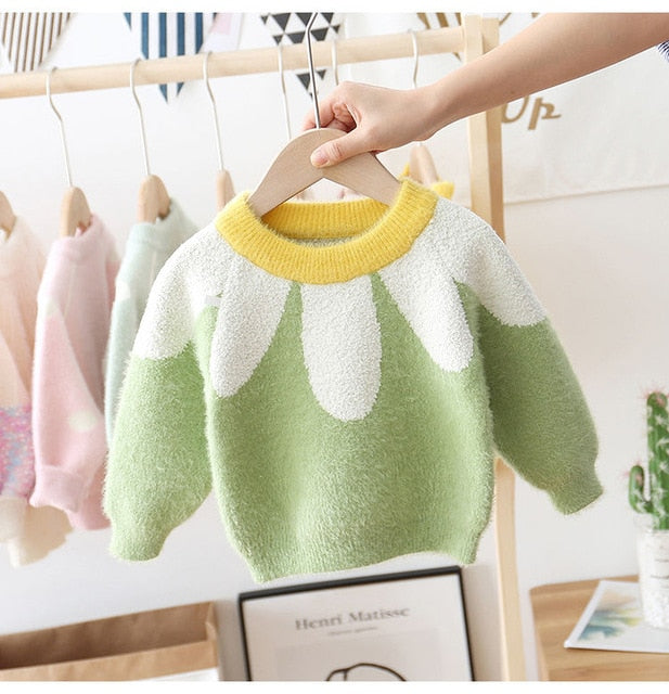 2021 hot baby girls sweater 1-7 years old Autumn and winter children's sweater Wholesale