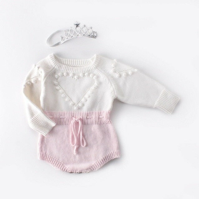 cute  Infant Baby Girl knitwear Love Romper Jumpsuit Bodysuit Outfit Winter wool knitted sweater Vendor